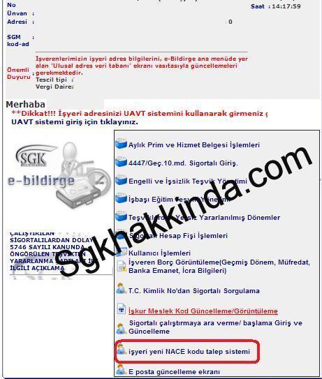 E-bildirge ile nace kodu değişikliği